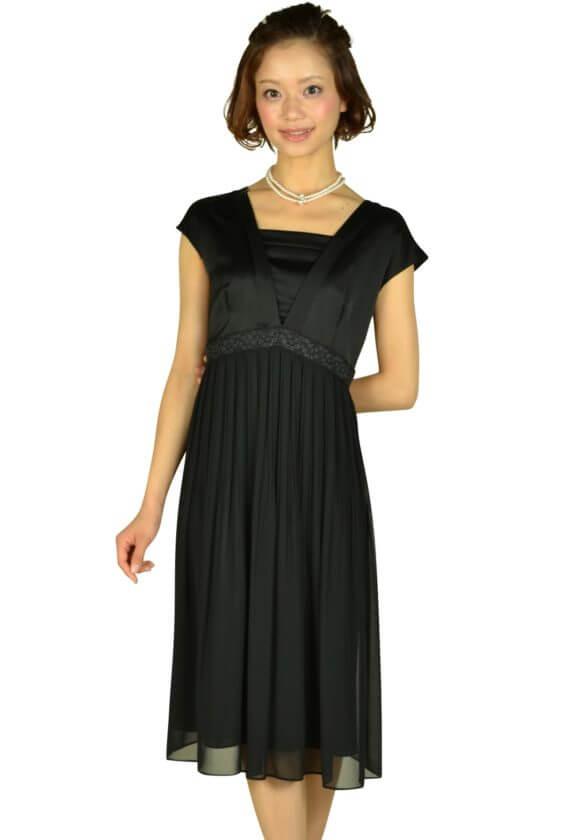 アンタイトル (UNTITLED)ブラックミディ丈ドレス
