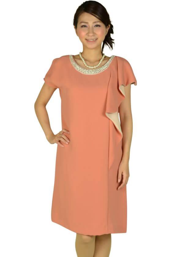 リプリート(REPLETE)アシメミニ袖オレンジドレス