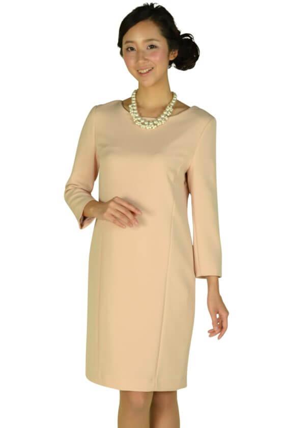 インディヴィ (INDIVI)シンプル7分袖ピンクドレス