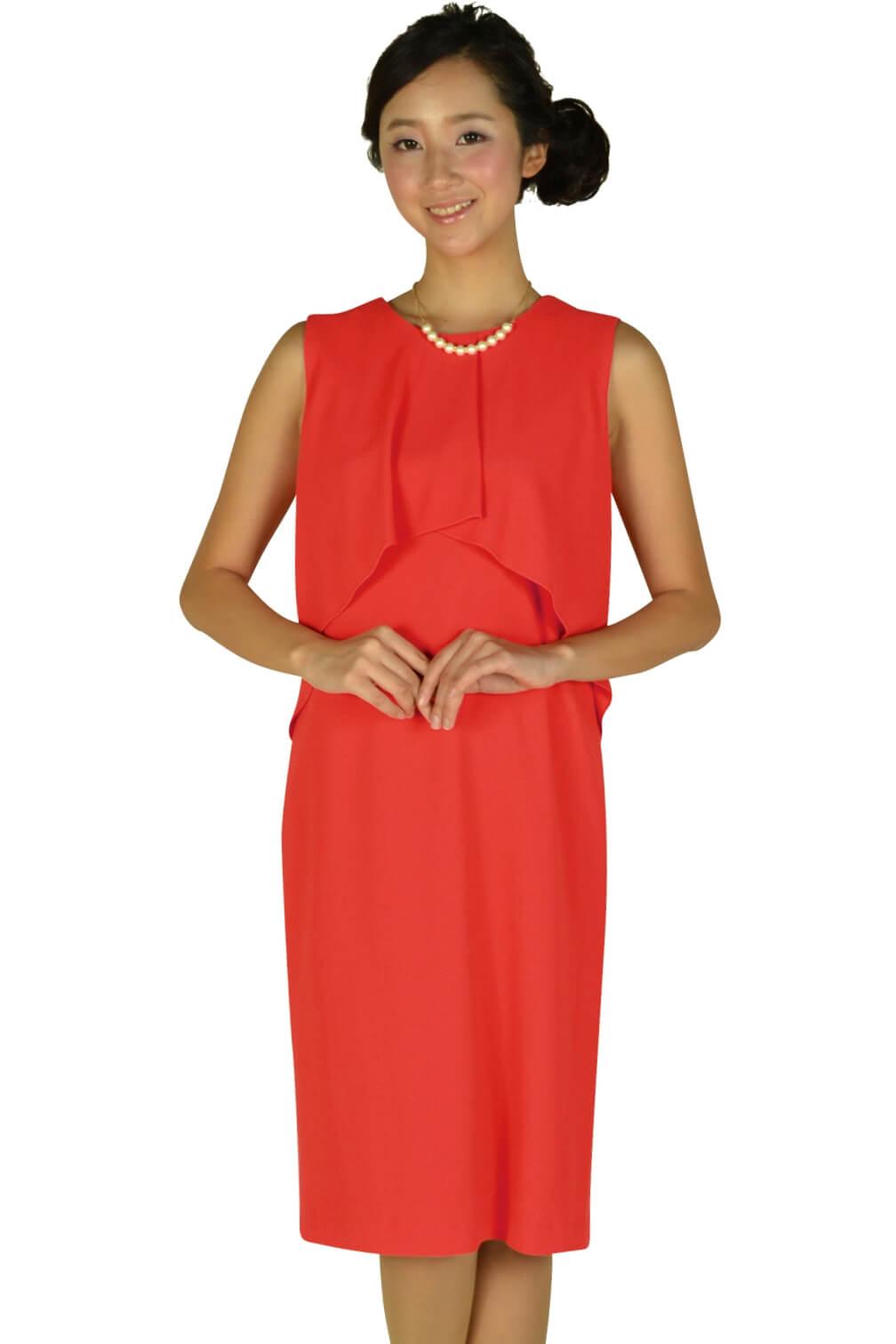 モディファイ (Modify)フロントフレアレッドオレンジドレス