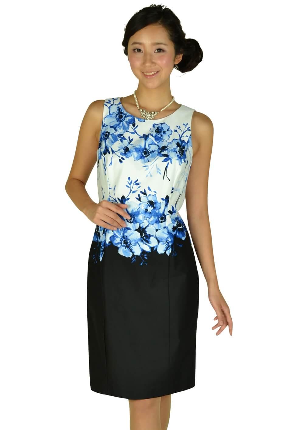 ローレンラルフローレン (LAUREN RALPH LAUREN)フラワーペイント×ブラックSKドレス