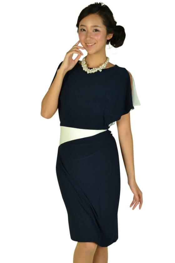 ローレンラルフローレン(LAUREN RALPH LAUREN)ネイビーアクセントホワイトドレス