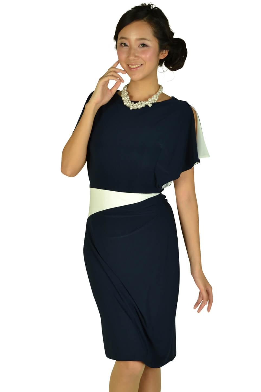 ローレンラルフローレン (LAUREN RALPH LAUREN)ネイビーアクセントホワイトドレス