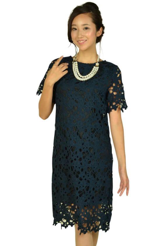 リトルブラックドレス(LITTLE BLACK DRESS)カッティング総レースネイビードレス