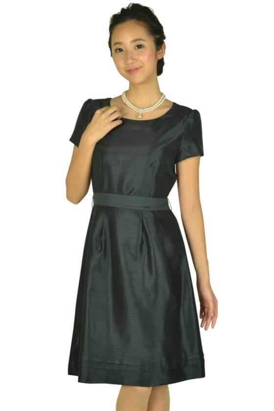 イノウェーブ(innowave)半袖シンプルシャンタンネイビードレス