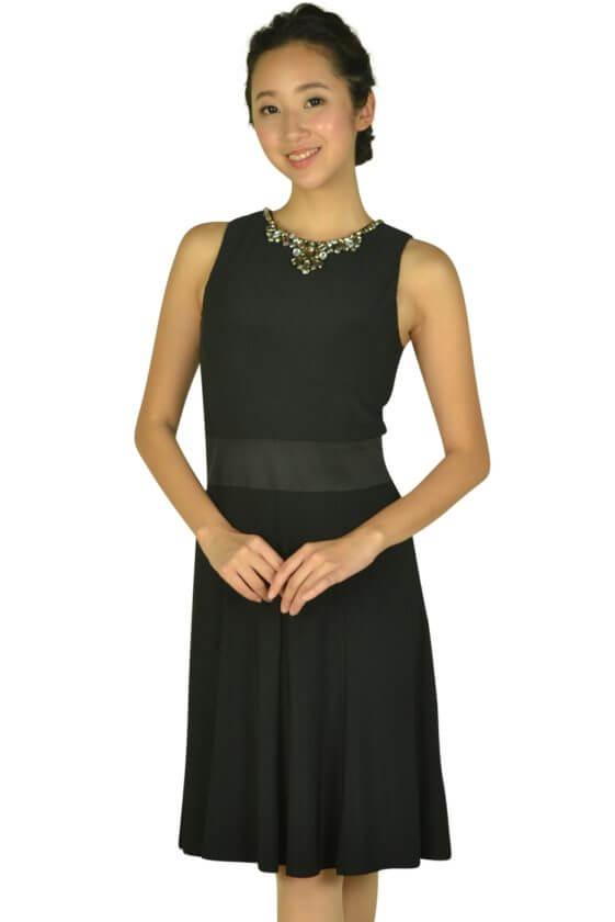 ローレンラルフローレン(LAUREN RALPH LAUREN)ビジュークリスタルネックブラックドレス
