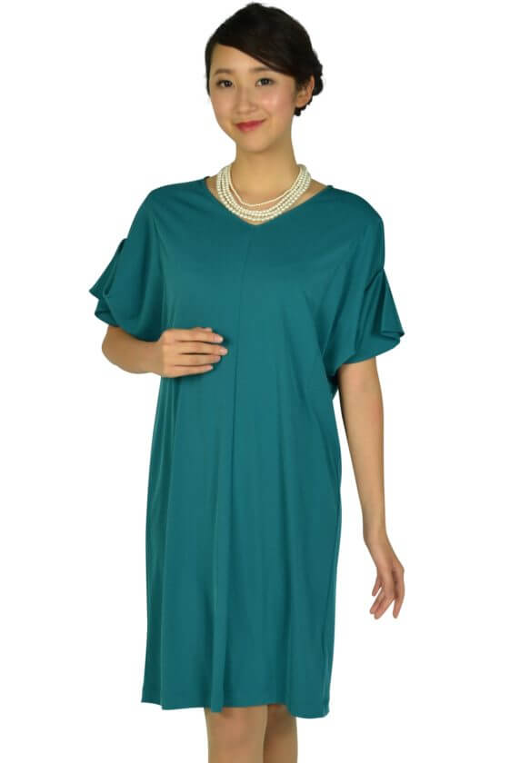 ロートレアモン (LAUTREAMONT)ゆったり5分袖ブルーグリーンドレス
