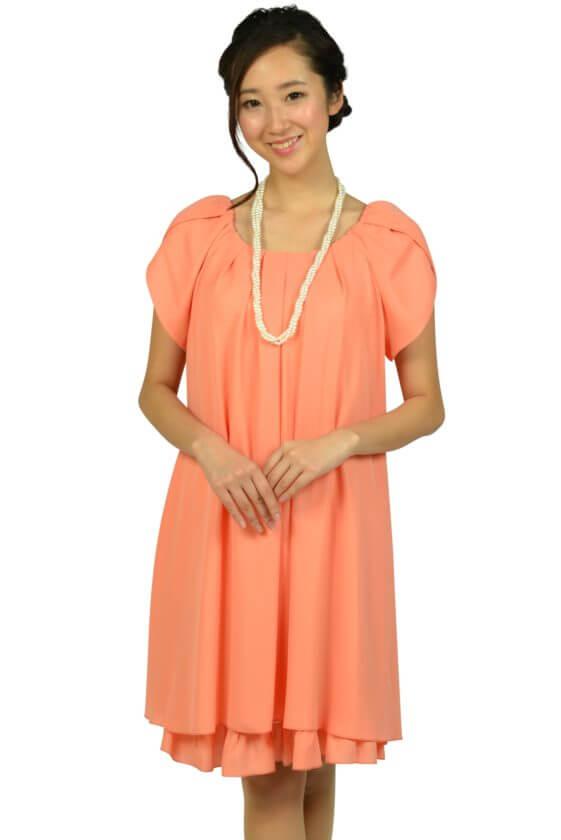 アプレジュール(Apres jour)ラメフリルコーラルオレンジドレス