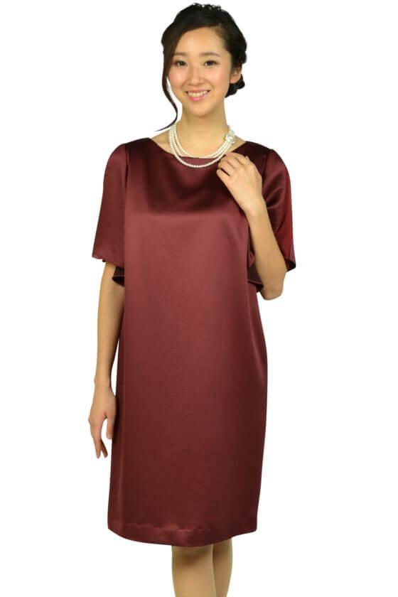 アンタイトル (UNTITLED)光沢ボルドーゆったりドレス