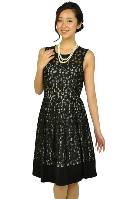 カルバンクライン(Calvin Klein)ブラックフラワーレースドレス