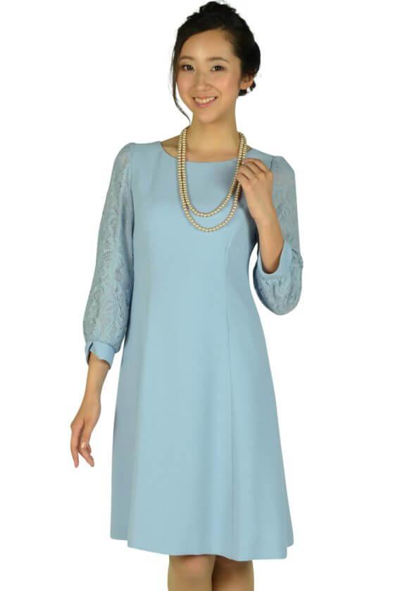 ストロベリーフィールズ(STRAWBERRY-FIELDS)サックスブルーレース袖ドレス