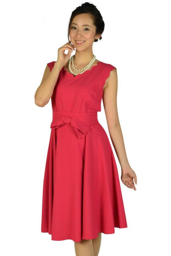 アプワイザー・リッシェ(Apuweiser-riche)スカラップカットストロベリーピンクドレス