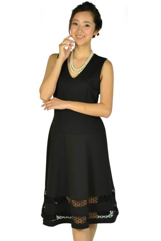 カルバンクライン(Calvin Klein)裾カットレースブラックドレス