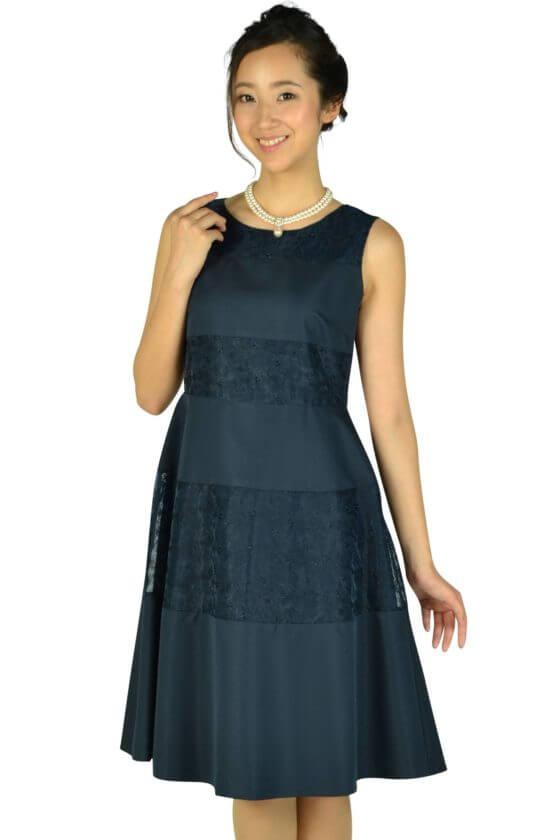 クミキョクプリエ(組曲)ボーダーレースネイビードレス