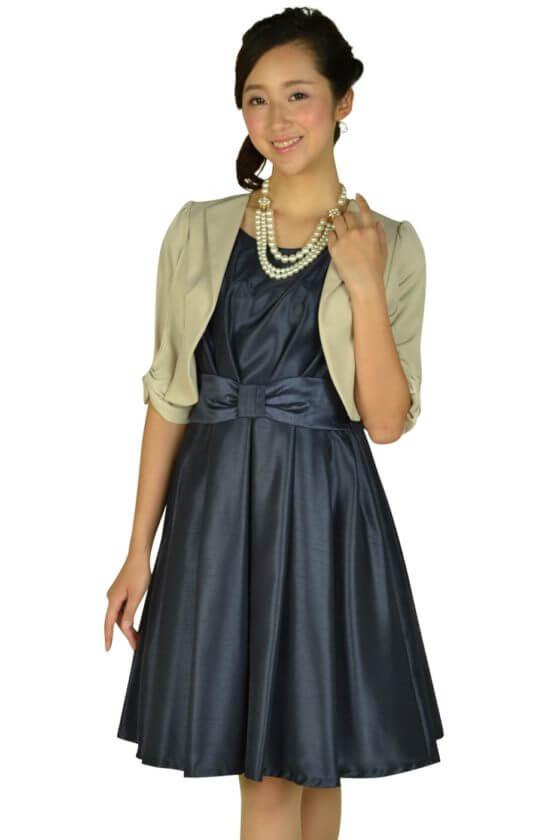ビヲミナ(VIWOMINA)ウエストリボンネイビードレス