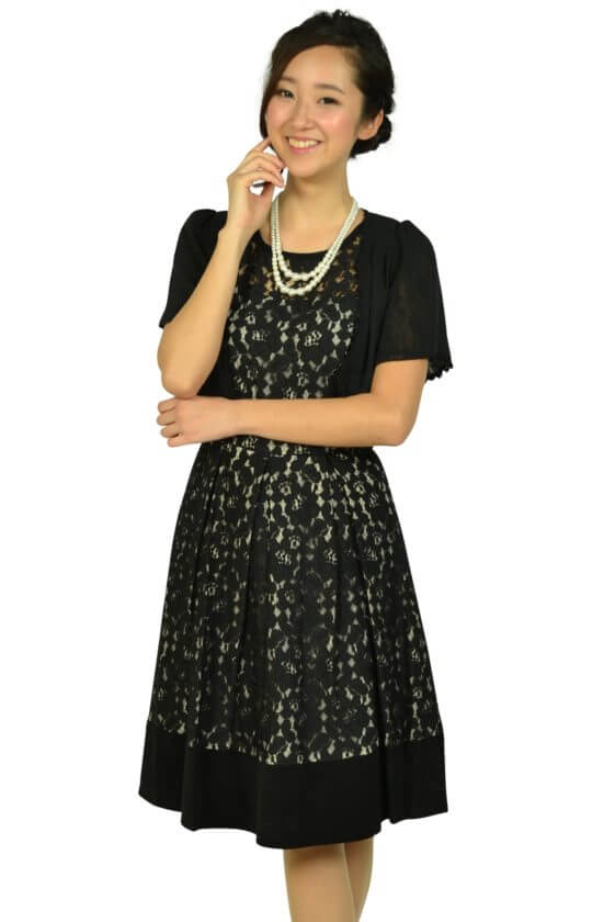 カルバンクライン(Calvin Klein)ブラックフラワーレースドレスセット