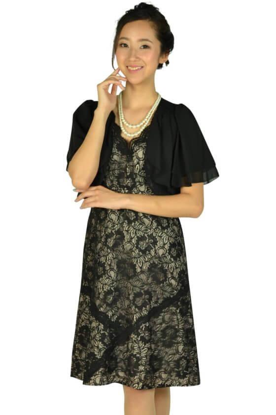 カルバンクライン(Calvin Klein)総ブラックレース×ベージュドレスセット