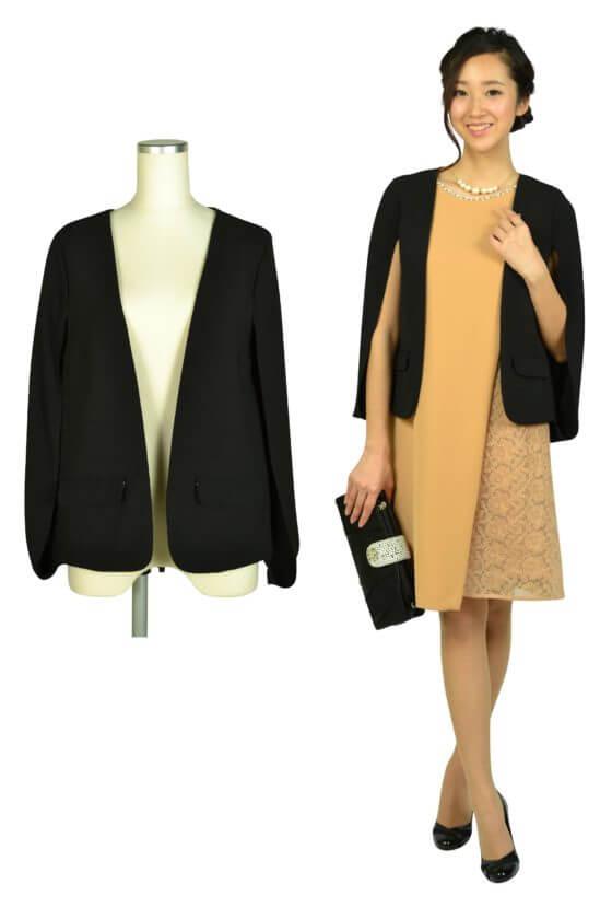 デリセノアール(DELLISE NOIR)ケープ袖ブラックジャケット