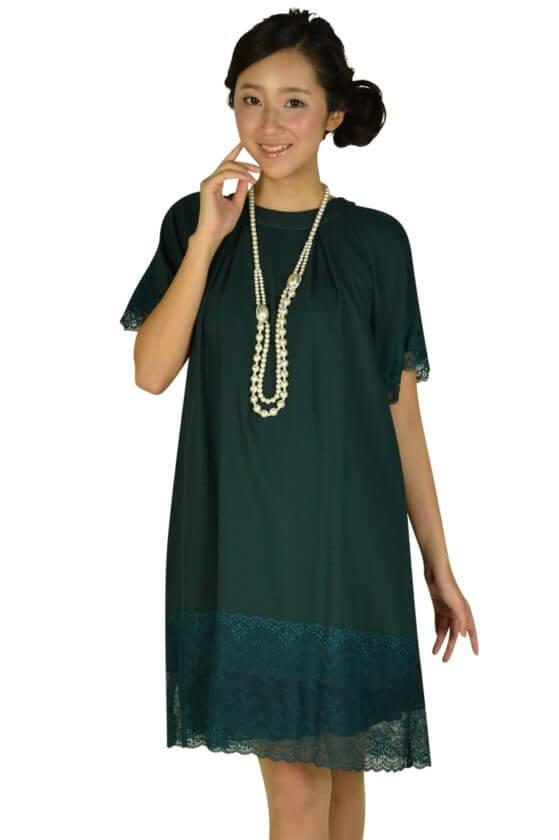 イエナ (IENA SLOBE)スローブ 袖付きグリーンレースドレス