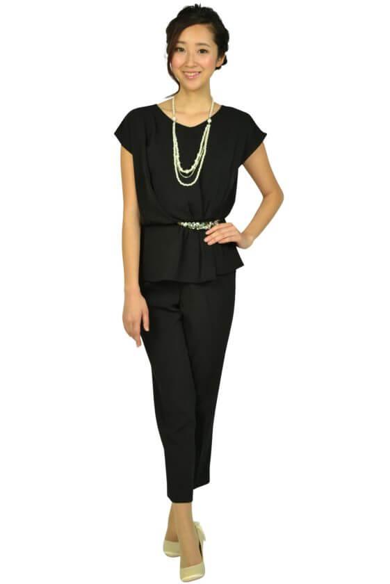 アシール(ASHILL)ビジュぺプラムブラックパンツドレス