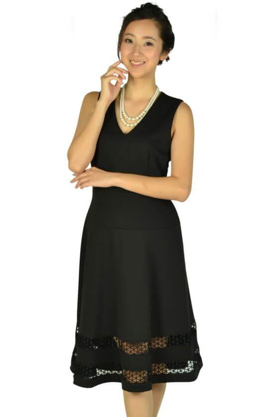 カルバンクライン (Calvin Klein)裾カットレースブラックドレス
