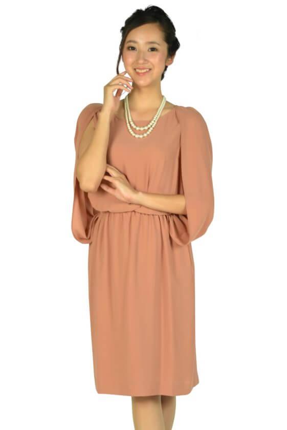 ユナイテッドアローズ(UNITED ARROWS)ケープ袖Iラインオレンジドレス