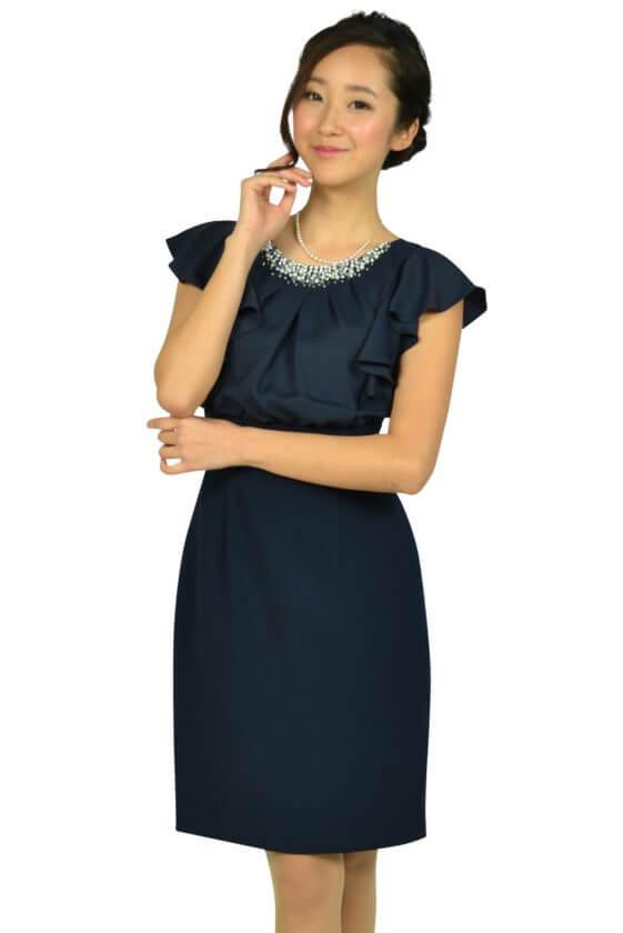 アプワイザー・リッシェ(Apuweiser-riche)ネックビジュタイトネイビードレス