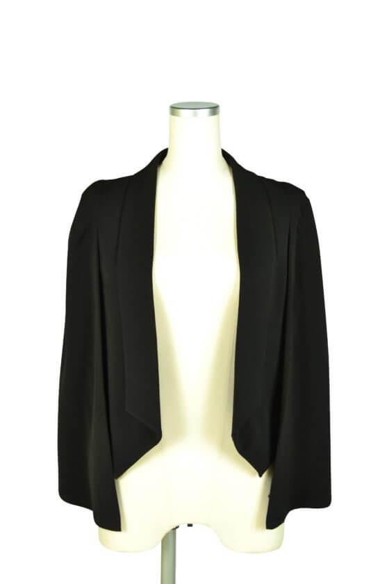 エルモソ リュクス(Hermoso luxe)襟付きケープ袖ブラックジャケット