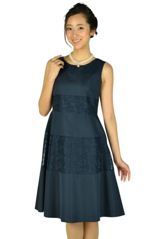 クミキョクプリエ (組曲プリエ)ボーダーレースネイビードレス