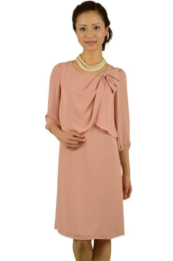 スーナウーナ (SunaUna)7分袖ピンクカラードレス