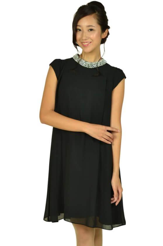 デリセノアール (DELLISE NOIR)ネックビジュブラックドレス