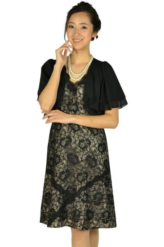 カルバンクライン (Calvin Klein )総ブラックレース×ベージュドレスセット