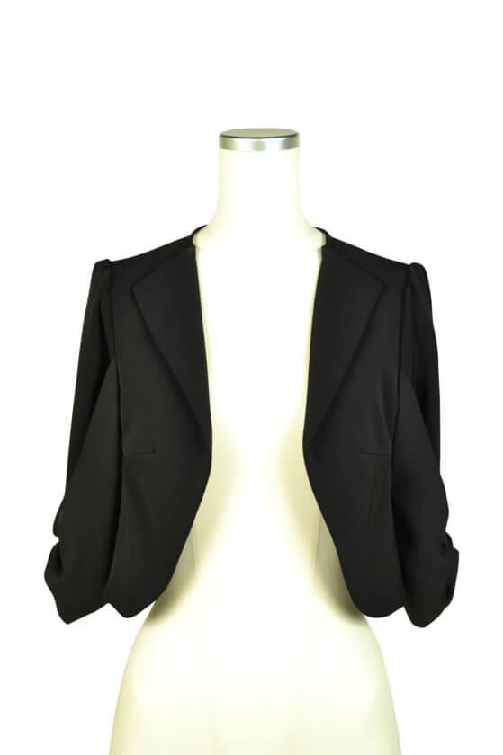 ミベル ミューズ (mebelle muse)袖リボン5分袖ブラックジャケット