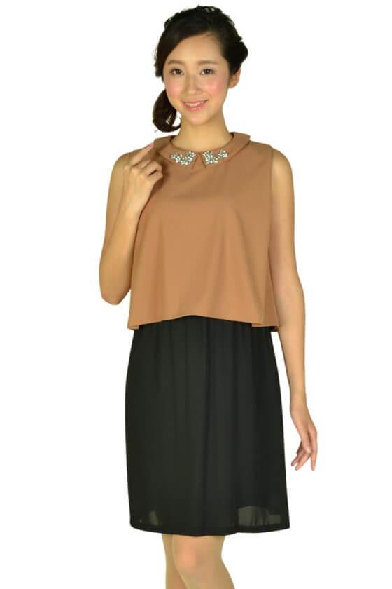 リトルブラックドレス (LITTLE BLACK DRESS)襟付きキャメルバイカラードレス