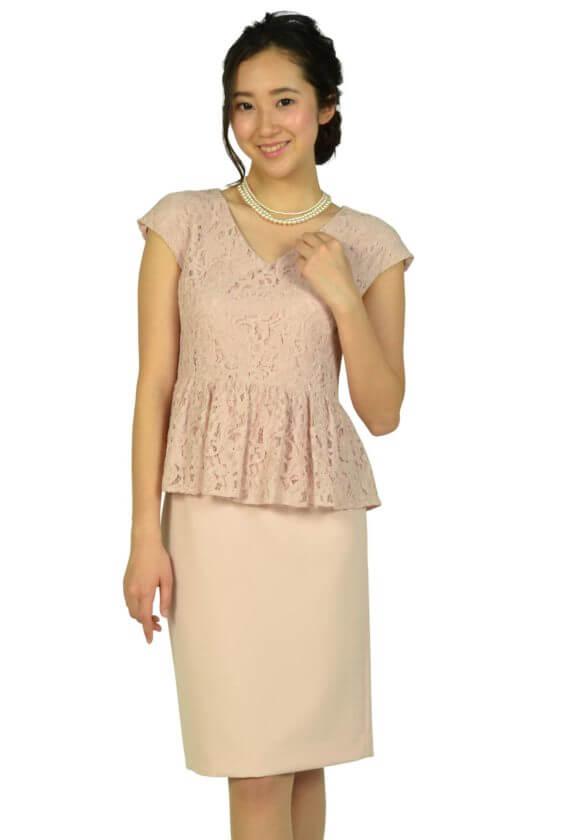 シップス(SHIPS)レーストップスIラインピンクドレス