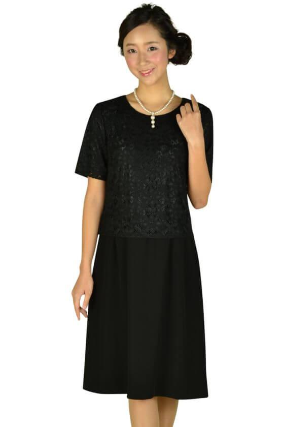 エッシュ (esche)レーストップス上品ブラックドレス
