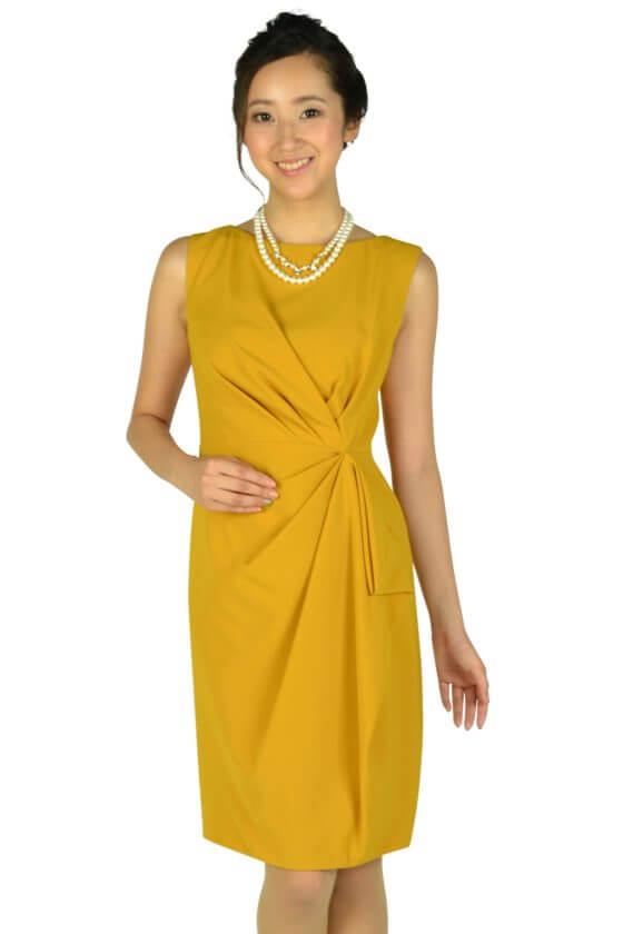グレースコンチネンタル(GRACE CONTINENTAL)大人タックマスタードドレス