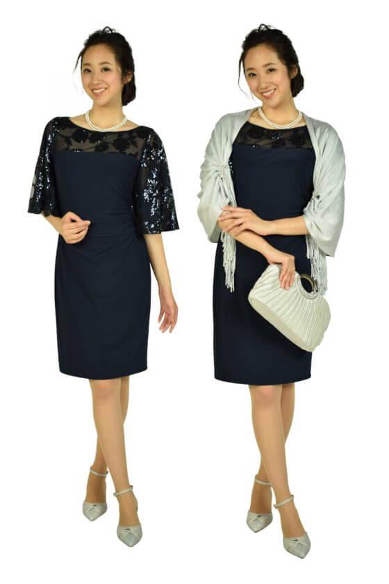 ローレンラルフローレン(LAUREN RALPH LAUREN)フレアスパンコールネイビードレス