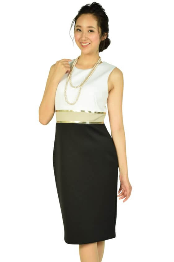 カルバンクライン(Calvin Klein)ゴールドラインホワイト×ブラックドレス