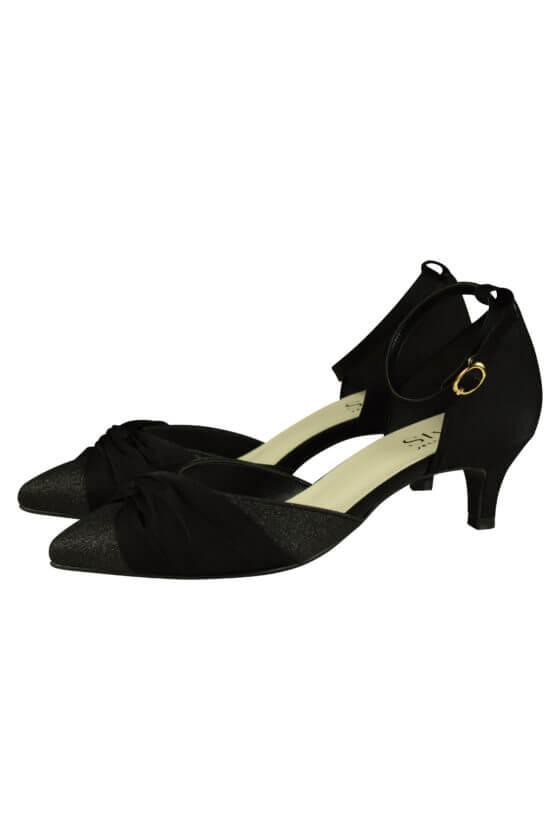 スタイル ジェリービーンズ(Style JELLY BEANS) 異素材クロスブラックパンプス
