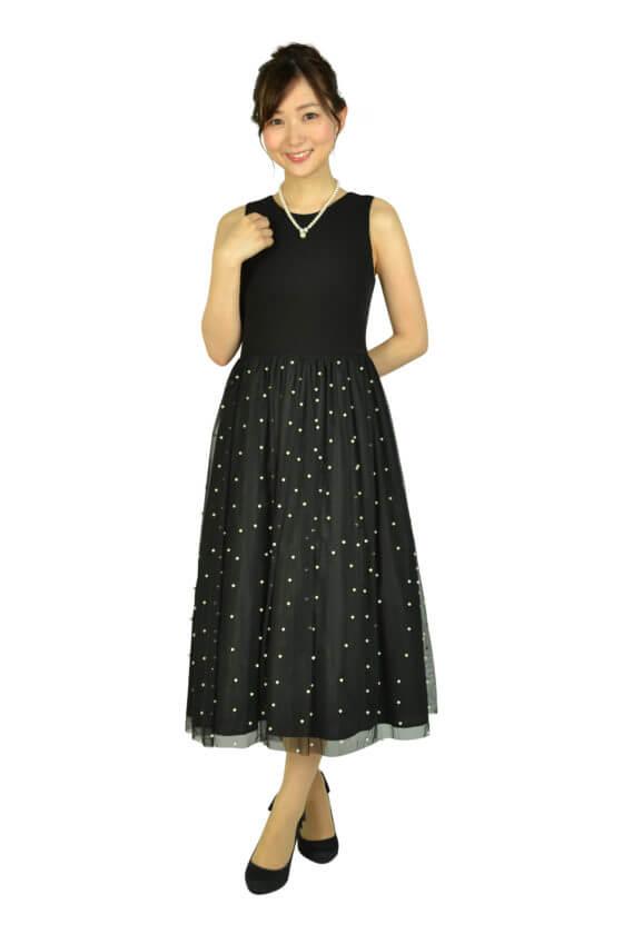 Calvin Kleinパールチュールブラックドレス