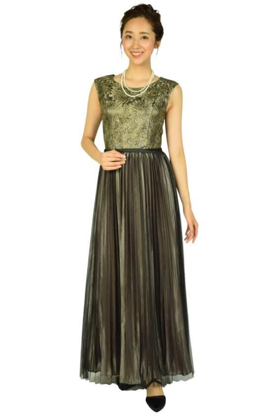 Lemeilltureプリーツブラック×ゴールドロングドレス