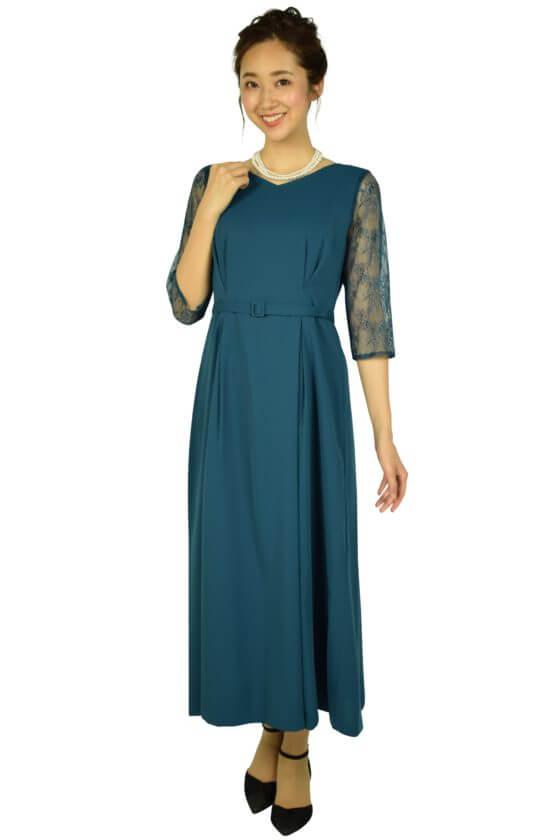 組曲レーススリーブロングブルーグリーンドレス