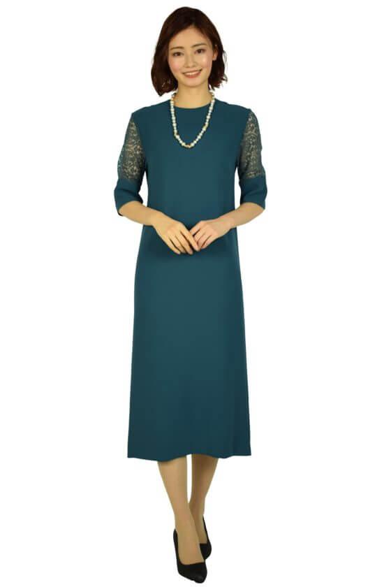 BEAUTY&YOUTH UNITED ARROWSリーフレーススリーブブルーグリーンドレス